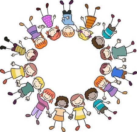 Illustration of Kids Lying Close Together illustration