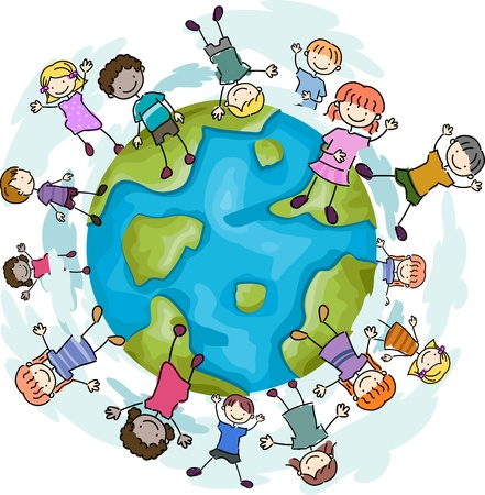 stick children: Illustration of Kids Happily Jumping around a Globe Stock Photo
