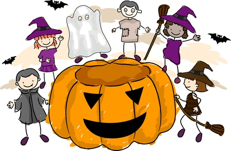 Illustration of Kids Wearing Halloween Costumes Stock Illustration - 8906473