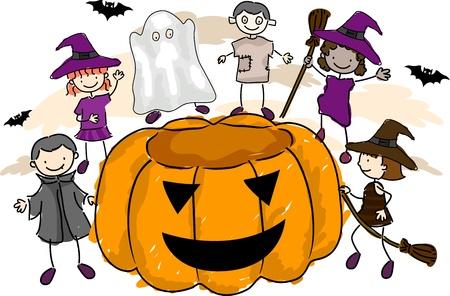 Illustration of Kids Wearing Halloween Costumes illustration