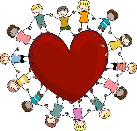 strichm�nnchen: Abbildung der Kinder rund um ein gro�es Herz Lizenzfreie Bilder