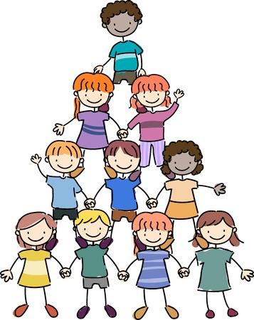 strichm�nnchen: Abbildung der Kinder in einer Pyramide-Formation
