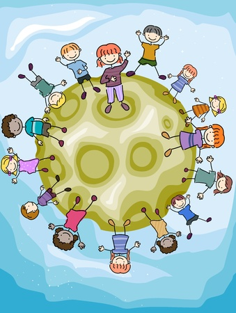chums: Illustration of Kids Gathered on the Surface of the Moon Stock Photo