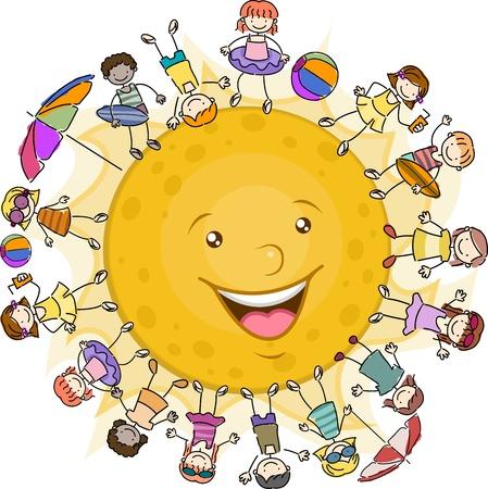 playmates: Ilustraci�n de ni�os que rodea el sol