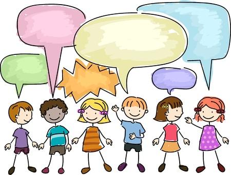 playmates: Ilustración de un grupo de niños hablando Foto de archivo
