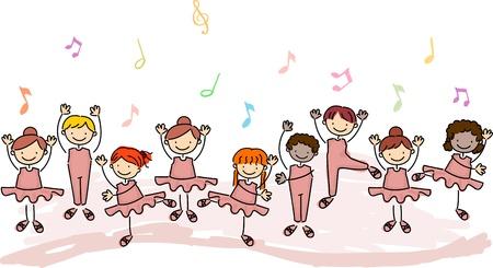 tanzen cartoon: Abbildung der Kinder üben Ballett