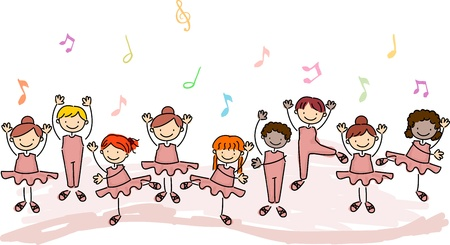 children in class: Illustration of Children Practicing Ballet Stock Photo