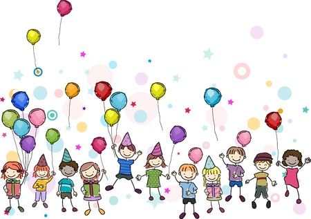 kids drawing: Illustration of Kids in a Birthday Party