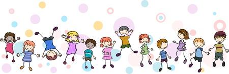cartwheel: Illustration of Kids Performing Different Stunts