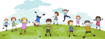 tumbling: Illustration of Kids Performing Different Stunts in a Field