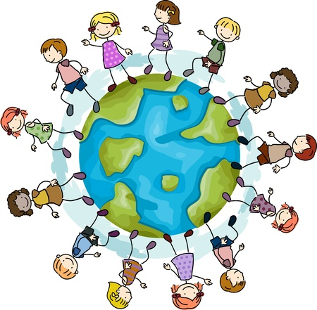 people traveling: Illustration of Kids Walking Around a Globe Stock Photo