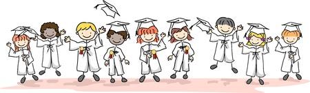 graduacion caricatura: Ilustraci�n de ni�os con gorras y vestidos
