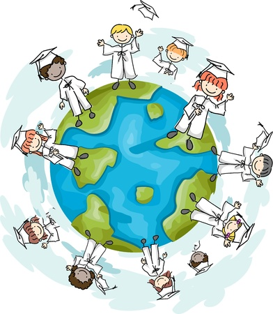 Illustration of Graduates Standing on the Top of the World Stock Illustration - 8906517