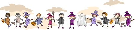 hag: Illustration of Kids Wearing Halloween Costumes