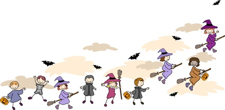 broomstick: Illustration of Kids Wearing Halloween Costumes