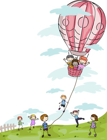 stick children: Illustration of Kids Playing with a Hot Air Balloon