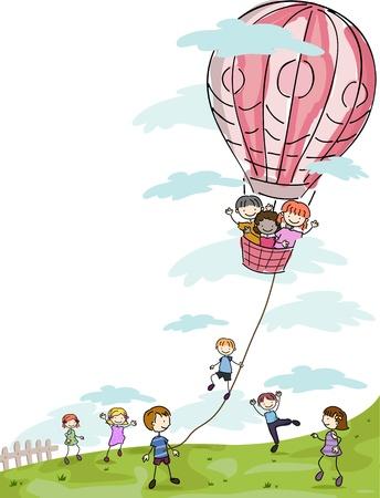 playmates: Ilustraci�n de ni�os jugando con un globo de aire caliente Foto de archivo