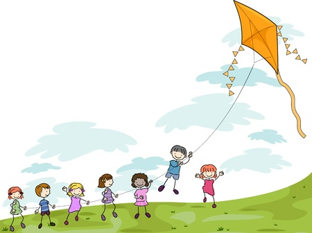 kite: Illustration of Kids Playing with a Kite Stock Photo