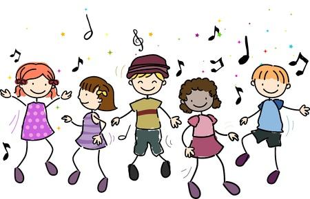 chicas bailando: Ilustraci�n de ni�os bailando junto a la m�sica