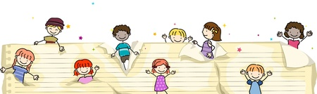 Illustration of Kids Popping Up From Torn Shreds of Paper illustration