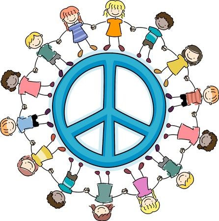 Illustration of Kids Surrounding a Peace Sign Stock Illustration - 8906502