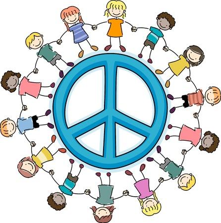 girotondo bambini: Illustrazione di ragazzini che circonda un segno di pace