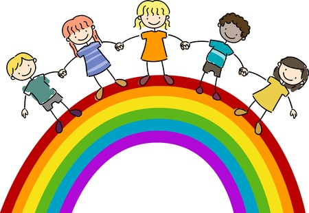 chums: Illustration of Kids Standing on Top of a Rainbow Stock Photo