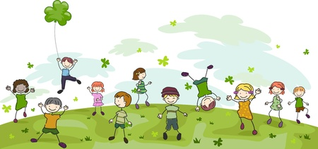 cartoon shamrock: Illustration of Kids Playing with Clovers