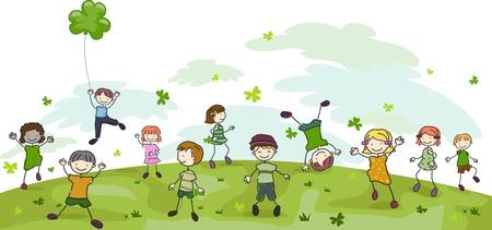 playmates: Ilustraci�n de ni�os jugando con tr�boles Foto de archivo