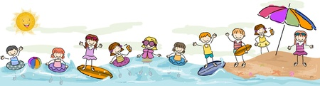 scribble: Summer Illustration Featuring Kids Taking a Swim