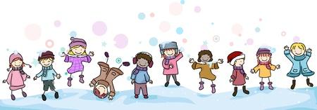 bolas de nieve: Ilustraci�n de ni�os jugando en la nieve