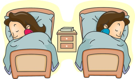 misunderstanding: Illustration of a Couple Lying in Separate Beds Stock Photo