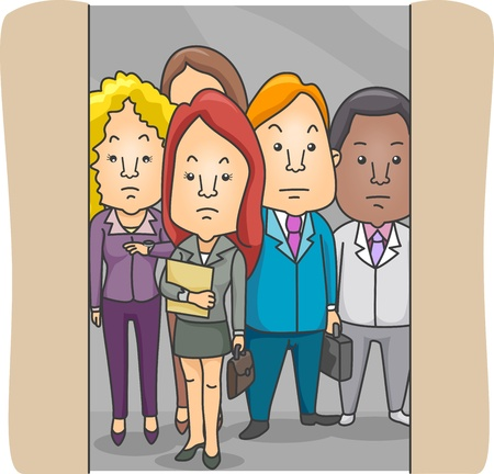Illustration of Employees in an Elevator illustration