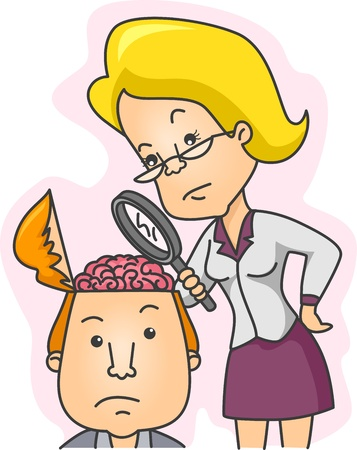 psychologist: Illustration of a Woman Examining the Contents of a Mans Head