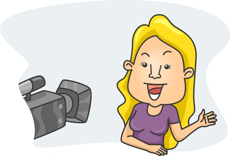 vj: Illustration of a Girl Speaking in Front of a Camera Stock Photo