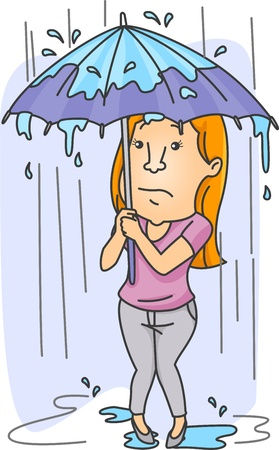 woman with umbrella: Illustration of a Woman Shielding Herself From the Heavy Rain