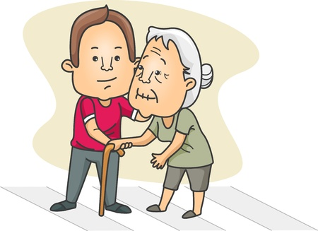 helpful: Illustration of a Man Helping an Old Lady Cross the Street