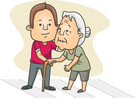 personas ayudando: Ilustración de un hombre de ayudar a una anciana Cruz la calle