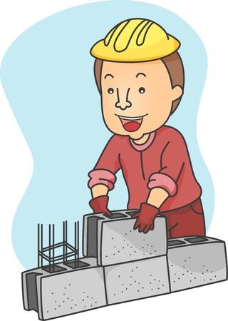 mason: Illustration of a Man Piling Hollow Blocks