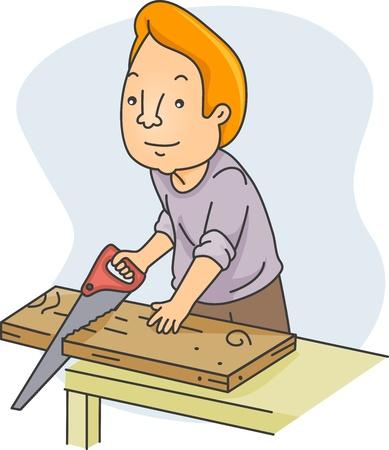 carpentry cartoon: Illustration of a Man Sawing Wood