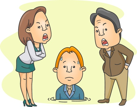 scold: Illustration of a Man Being Scolded by His Bosses Stock Photo