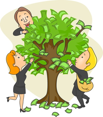 opportunity concept: Illustration of People in Suits Getting Money from a Money Tree