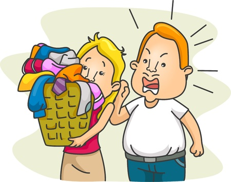 talkative: Illustration of a Husband Nagging His Wife