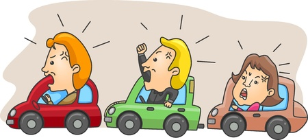 motorists: Illustration of Angry Motorists Caught in a Traffic Jam Stock Photo