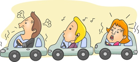 road rage: Illustration of Motorists During Rush Hour with one calm person in the middle