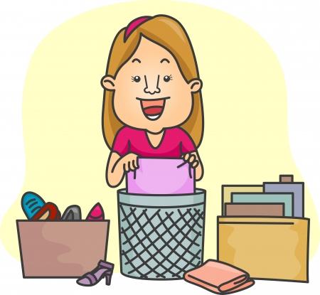 revoltijo: Ilustraci�n de una chica de organizar sus cosas Foto de archivo