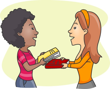 give and take: Illustration of Girls Exchanging Books Stock Photo