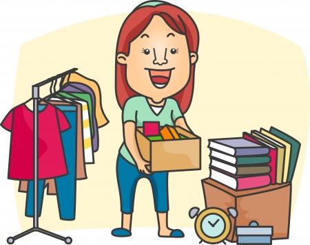 Illustration of a Girl Preparing a Garage Sale Stock Illustration - 8906457
