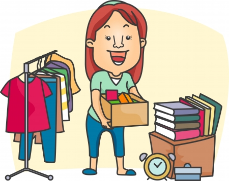 discounted: Illustration of a Girl Preparing a Garage Sale