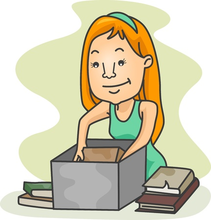 put away: Illustration of a Girl Packing Old Books Stock Photo